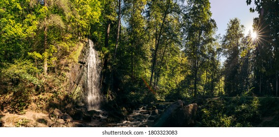 Panorama view beautiful waterfall in the National Park Tercino udoli, Nove Hrady, South Bohemia, Czech Republic - Shutterstock ID 1803323083