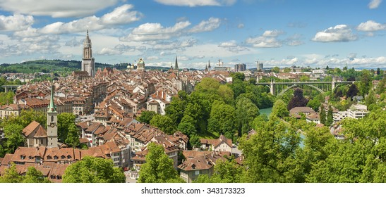 Panorama view of Bern old town from mountain top in rose garden, Switzerland