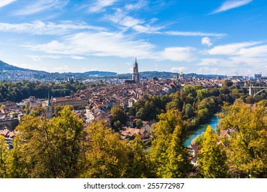 Panorama view of Berne old town from mountain top in rose garden