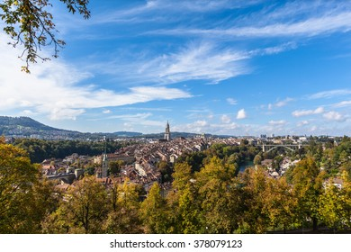 Panorama view of Berne old town from mountain top in rose garden, capital city of Switzerland.