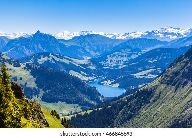 Panorama view of Bernese Alps from top of Rochers-de-Naye, near Montreux, Canton of Vaud, Switzerland
