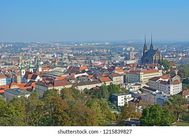 Panorama view of Brno in Czech Republic with Cathedral of St. Peter and Paul