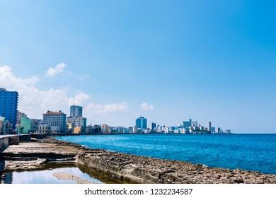 Panorama view of the broad esplanade of El Malecon in Havana, Cuba.