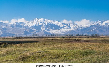 Panorama view from Burana, in the Chuy Valley at northern of the country's capital Bishkek, Kyrgyzstan