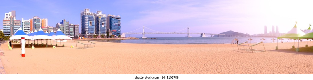 Panorama view of Busan Gwangandaegyo Bridge (Diamond Bridge) at Haeundae beach in Busan Korea.