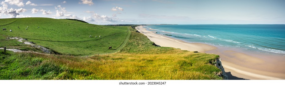 Panorama view at cap blanc-nez at pas-de-calais in Northern France. View on the beach and Wissant. Beautiful landscape.