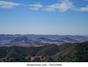 Panorama view of Cerro San Luis, Bishop peak and Chumash peak California,USA.