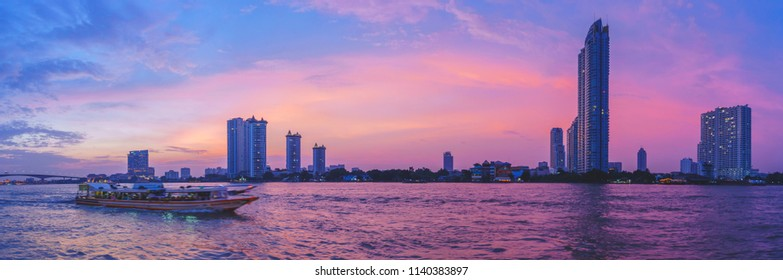 panorama view of Chaopraya River at sunset in Bangkok Thailand.