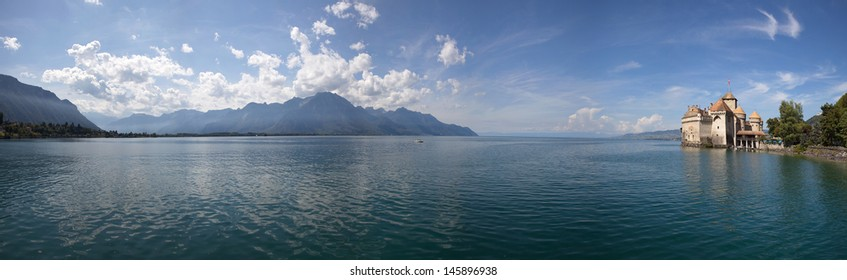 The panorama view of Chillon Castle and Lake Geneva