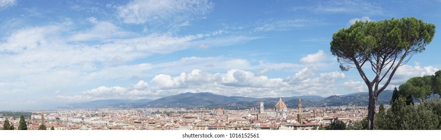 Panorama view to city center of Florence