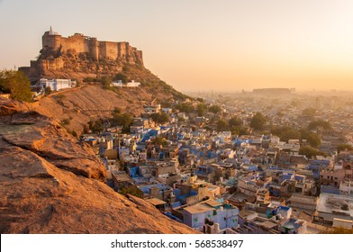 Panorama view of the city with the mehrangarh fortress at sunrise, Jodhpur