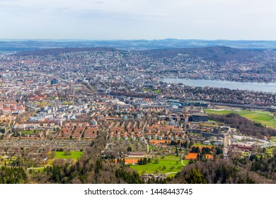 Panorama view of city of Zurich from the Uetliberg mountain