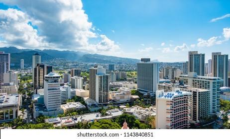 Panorama view of Cityscape and Tantalus Hill in Waikiki, Honolulu, Oahu Island, Hawaii