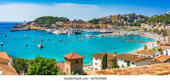 Panorama view of the coast bay Port de Soller on Majorca Island, Spain Mediterranean Sea.