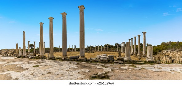 Panorama view of  the colonnaded Palaestra of the gymnasium at the ancient Roman city of Salamis near Famagusta, Northern Cyprus