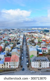 Panorama view of colorful houses in Reykjavik city center, Iceland