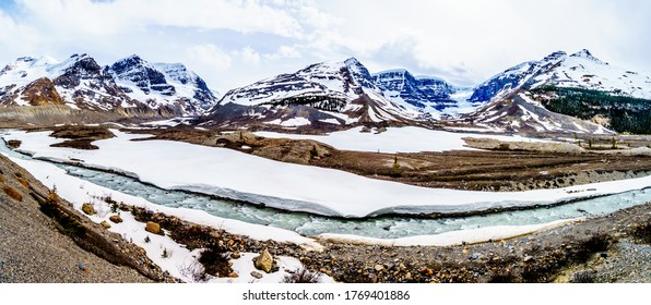 Panorama View of the Columbia Icefields in Jasper National Park, Alberta, Canada at spring time. The Snow Dome Glacier on the right