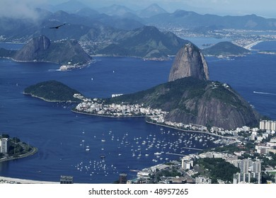Panorama view from Corcovado hill to Rio de Janeiro and Sugar Loaf