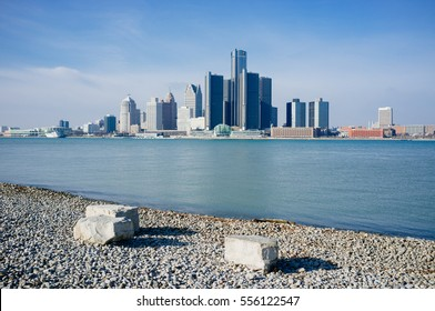 a panorama view of Detroit City.  from Riverfront Trail, Windsor, Ontario.