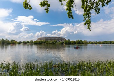 Panorama view of the Documentation Center and Congress Hall of the Nazi Party Rally Grounds in Nuremberg, with the Dutzendteich lake in the foreground, Bavaria, Germany