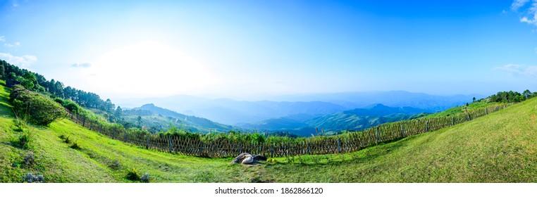 Panorama View of Doi Chang Mup Viewpoint at Sunset, Chiang Rai Province. - Shutterstock ID 1862866120