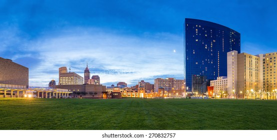 Panorama view of downtown Indianapolis skyline at twilight
