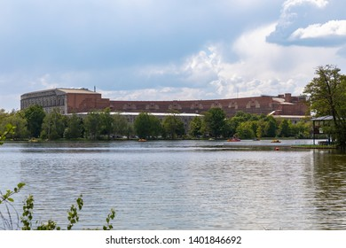 Panorama view of the Ducumentation Center and Congress Hall of the Nazi Party Rally Grounds in Nuremberg, with the Dutzendteich lake in the foreground, Bavaria, Germany
