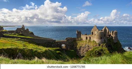 Panorama view of Dunluce castle in Northern Ireland, United Kingdom, on the Causeway coastal driving route,  Emerald Island. (stitched large file)