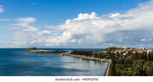 Panorama View of the entrance from the Harbor of Newcastle, NSW Australia