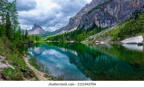 The panorama view of  Federa lake with the background of Dolomites Alps, Cortina D'Ampezzo, South Tyrol, Dolomites, Italy.