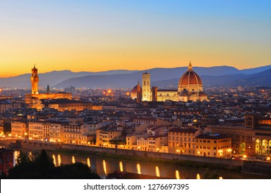panorama view of florence from Piazzale Michelangelo at dust