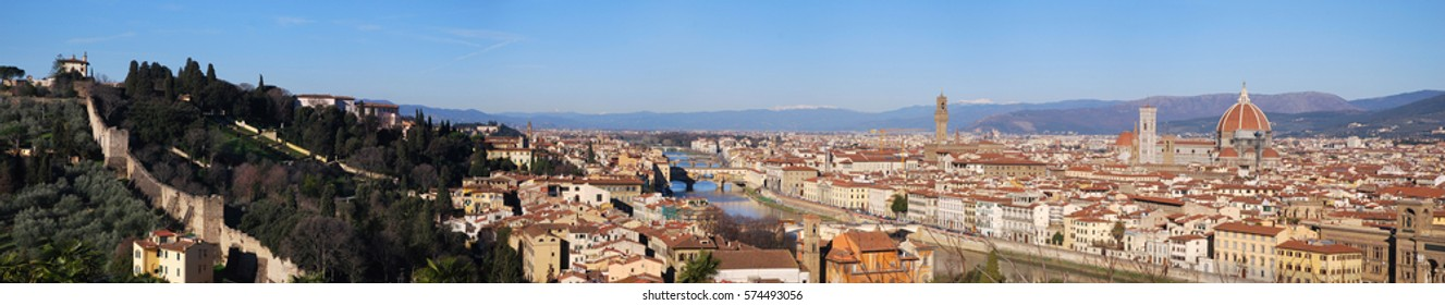 Panorama view of Florence from Piazzale Michelangelo with Forte Belvedere, Old Bridge, Old Palace and Cathedral of Santa Maria del Fiore, Italy