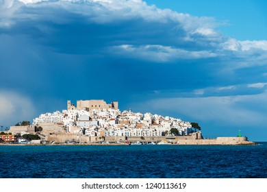 Panorama view of the fortified city of Peniscola in the Costa del Azahar in Castellon, Valencian Community in Spain.