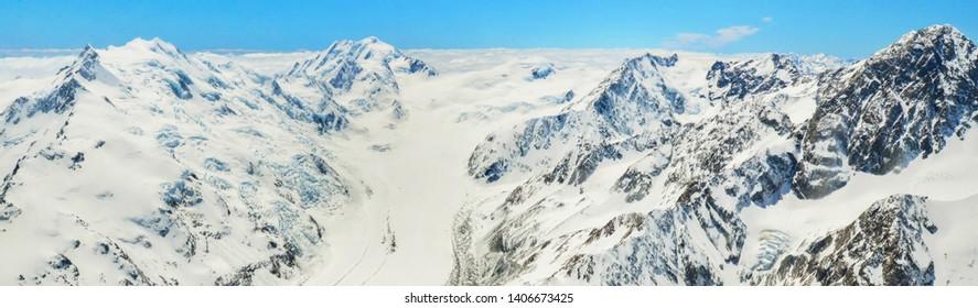 Panorama view of Franz Josef Glacier in Westland, South Island, New Zealand