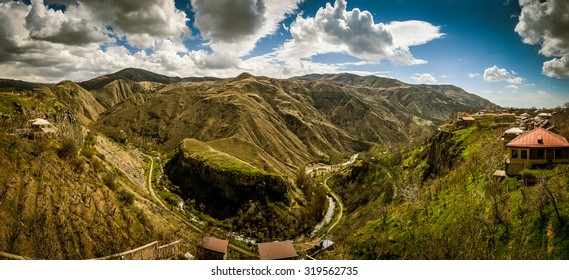 Panorama view with Garni temple, Autumn, Armenia