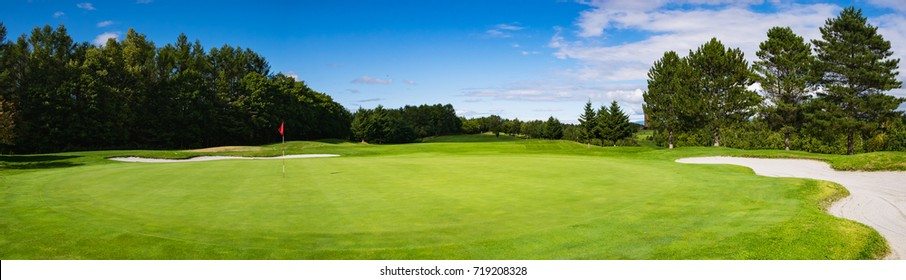 Panorama View of Golf Course with putting green in Hokkaido, Japan. Golf course with a rich green turf beautiful scenery.