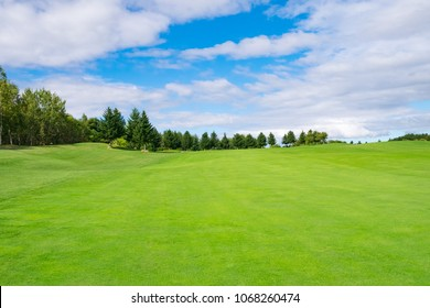 Panorama view of Golf Course where the turf is beautiful and green in Hokkaido, Japan. Golf course with a rich green turf beautiful scenery.