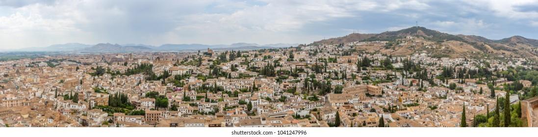 Panorama view of granada city skyline ,Spain