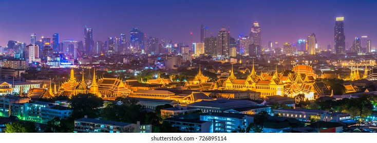 Panorama view of Grand palace and Wat phra keaw or Emerald Buddha temple with Bangkok downtown building in background in Bangkok,Thailand.