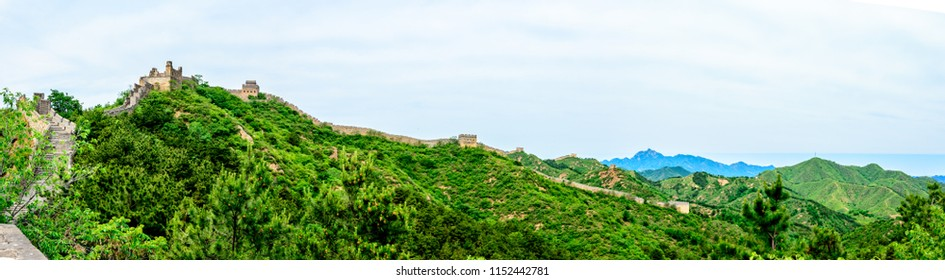 A Panorama View of The Great Wall of China as it Bends its way through the Jinshanling Mountains