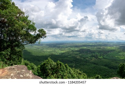 Panorama  view of the Green Mountains beautiful and clouds in the sky in Thailand. High angle view of green forest.