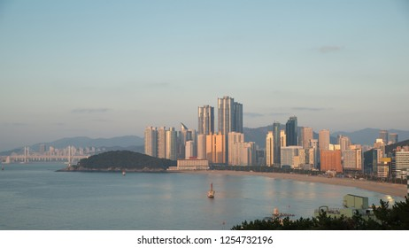Panorama view of Haeundae beach. Haeundae beach is Busan's most popular beach in South Korea.
