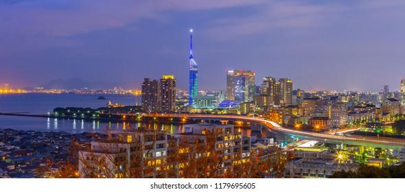 Panorama view of Hakata cityscape skyline in Fukuoka, Japan.