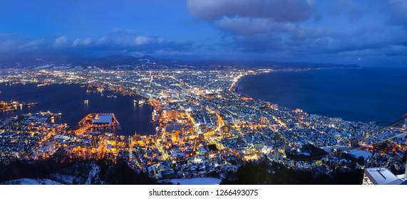 a panorama view of hakodate japan in winter night