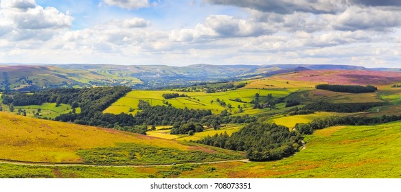 Panorama of View from Hathersage Moor in Peak District National Park, Derbyshire, England, UK.