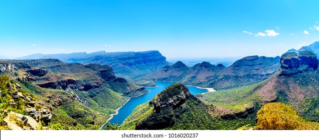 Panorama View of the highveld and the Blyde River Dam in the Blyde River Canyon Reserve, along the Panorama Route in Mpumalanga Province of South Africa
