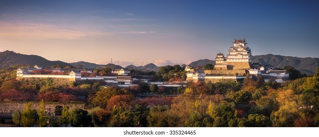 A panorama view of Himeji Castle at early of autumn, Himeji, Japan. The castle is regarded as the finest surviving example of Japanese castle architecture. It is a UNESCO World Heritage Site.