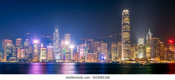 Panorama view of Hong kong downtown the famous cityscape view of Hong Kong skyline during twilight time from Kowloon side at Hong Kong.