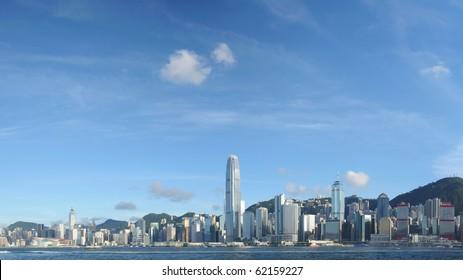 Panorama view of Hong Kong skyline
