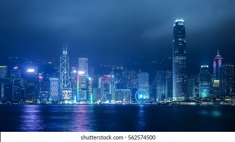 Panorama view of Hongkong island building at night time  from Kowloon side across from Victor Harbor january 2017. China